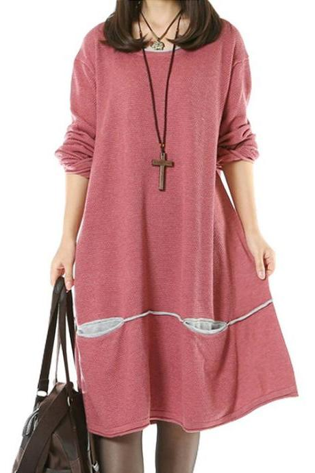 Women's Daily Knitwear Spring Loose Sweater Dress Pink