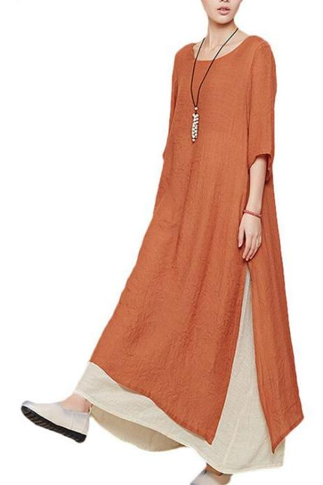 Women's Summer New Short Sleeve Two Layers Maxi Dresses