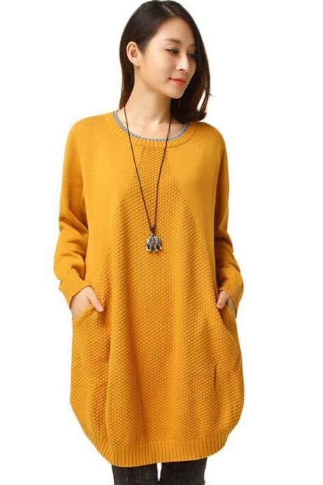 Women's 5 Colors Long Sleeve Knitwear Pullover With Pockets