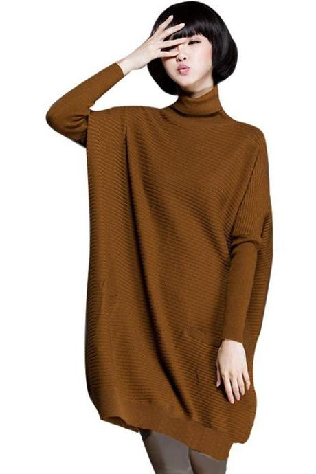 Women's New Loose Fit High Collar Ribbed Sweater Pullover with Pockets