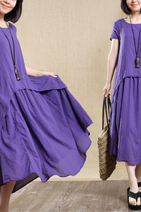 Women Cotton Linen Long Skirt Loose Robe Dress Summer Dress