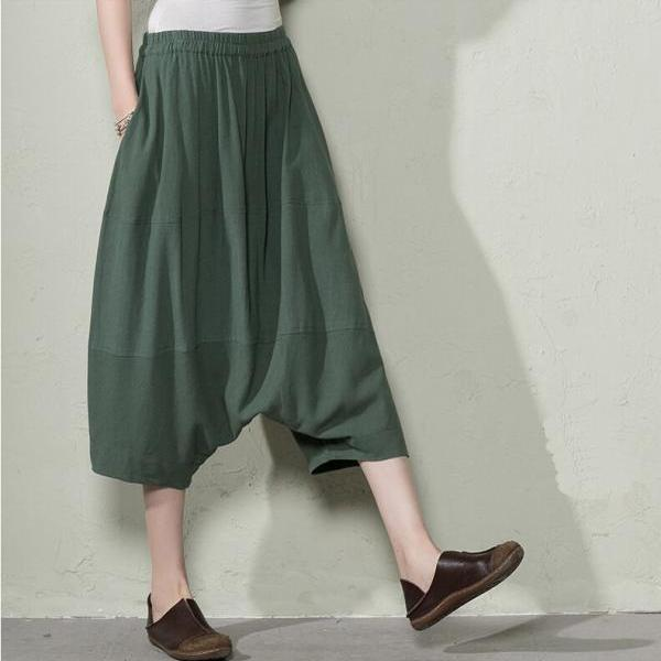 Women Plus Size Pants Summer Linen Short Pants Green