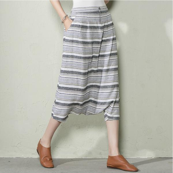 Women Haroun Pants Plus Size Summer Cotton Pants Coffee Stripe
