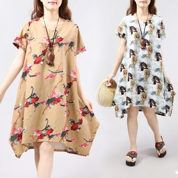 Asymmetric Summer Skirt Loose Floral Cotton Fashion Dress